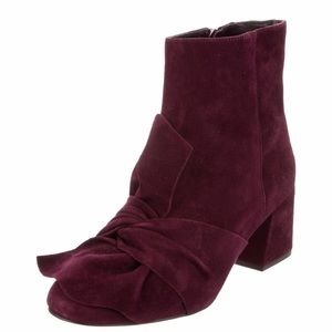 REBECCA MINKOFF Plum Suede Knotted Ankle Boots